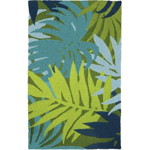 Find Inman Palms Hand-Hooked Blue/Green Indoor/Outdoor Area Rug By Bay Isle Home