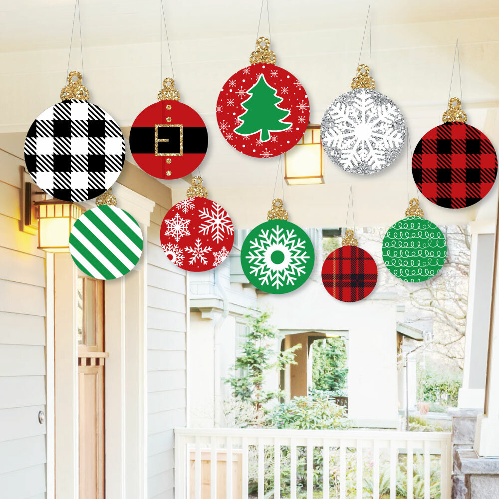 10 Piece Classic Christmas Ornaments Outdoor Holiday Hanging Porch And Tree Yard Sign Banner Set