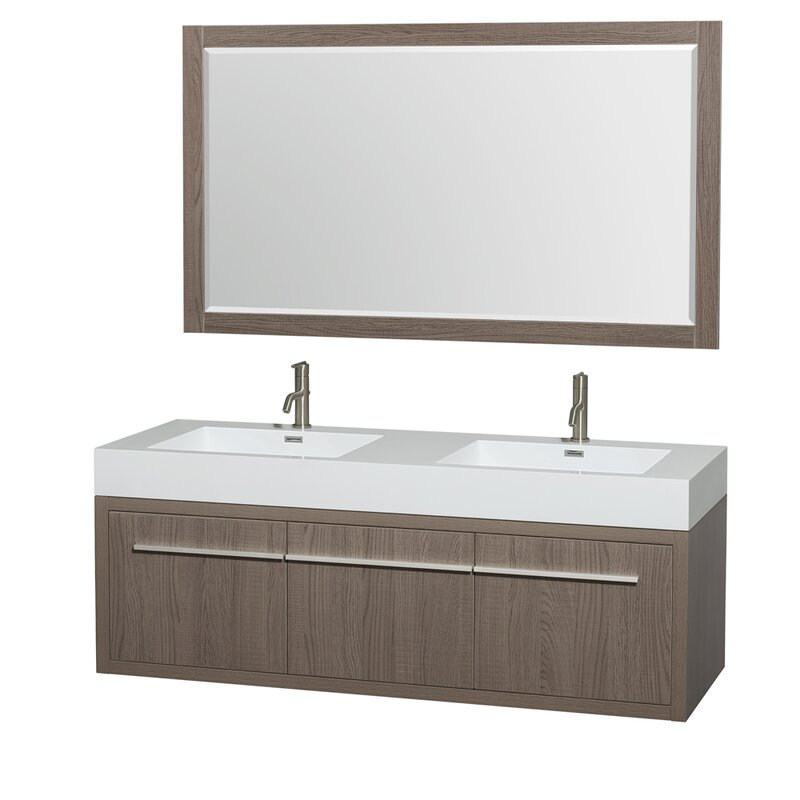 "wyndham collection axa 60"" double gray oak bathroom vanity set"