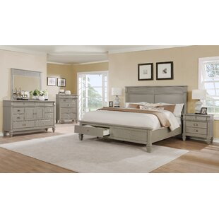 Vasilikos Gray Solid Wood Construction Platform 5 Piece Bedroom Set