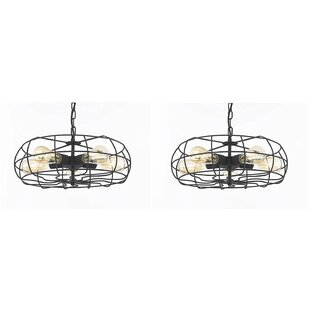 17 Stories Bezout 5-Light Drum Pendant (Set of 2)