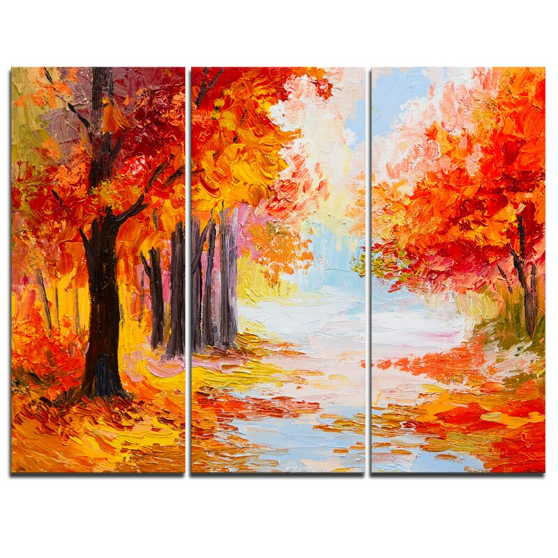 Designart Orange Forest In Autumn 3 Piece Painting Print On Wrapped Canvas Set Wayfair