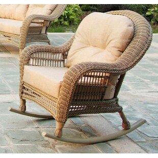 One Allium Way Ophélie Outdoor Garden Cappuccino 3 Piece Rocking Conversation Set with Cushion