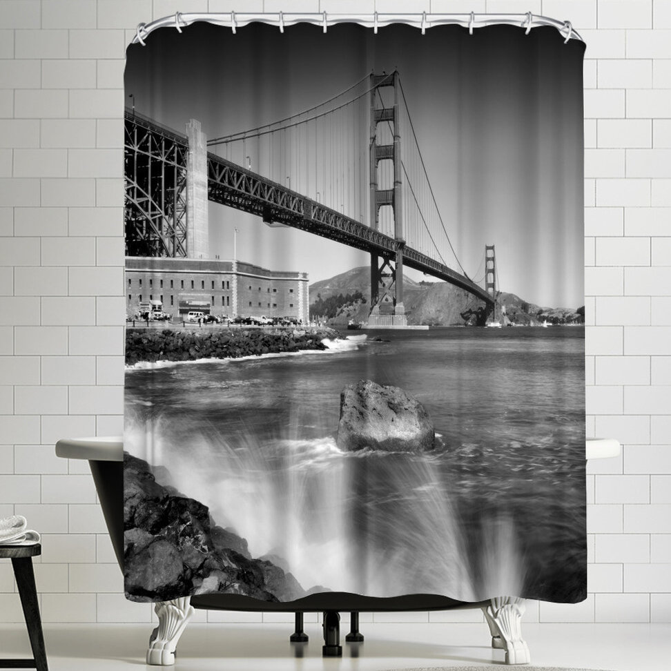East Urban Home Melanie Viola Golden Gate Bridge With Breakers Shower Curtain Wayfair