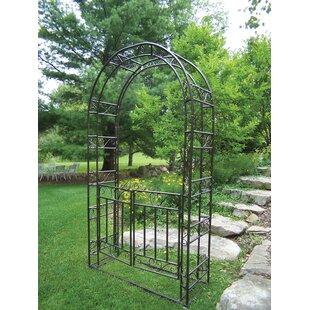 Oakland Living Steel Arbor with Gate and Base