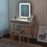 Blando Solid Wood Vanity Set with Stool and Mirror by Wrought Studio™