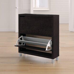 12 Pair Espresso Shoe Storage Cabinet
