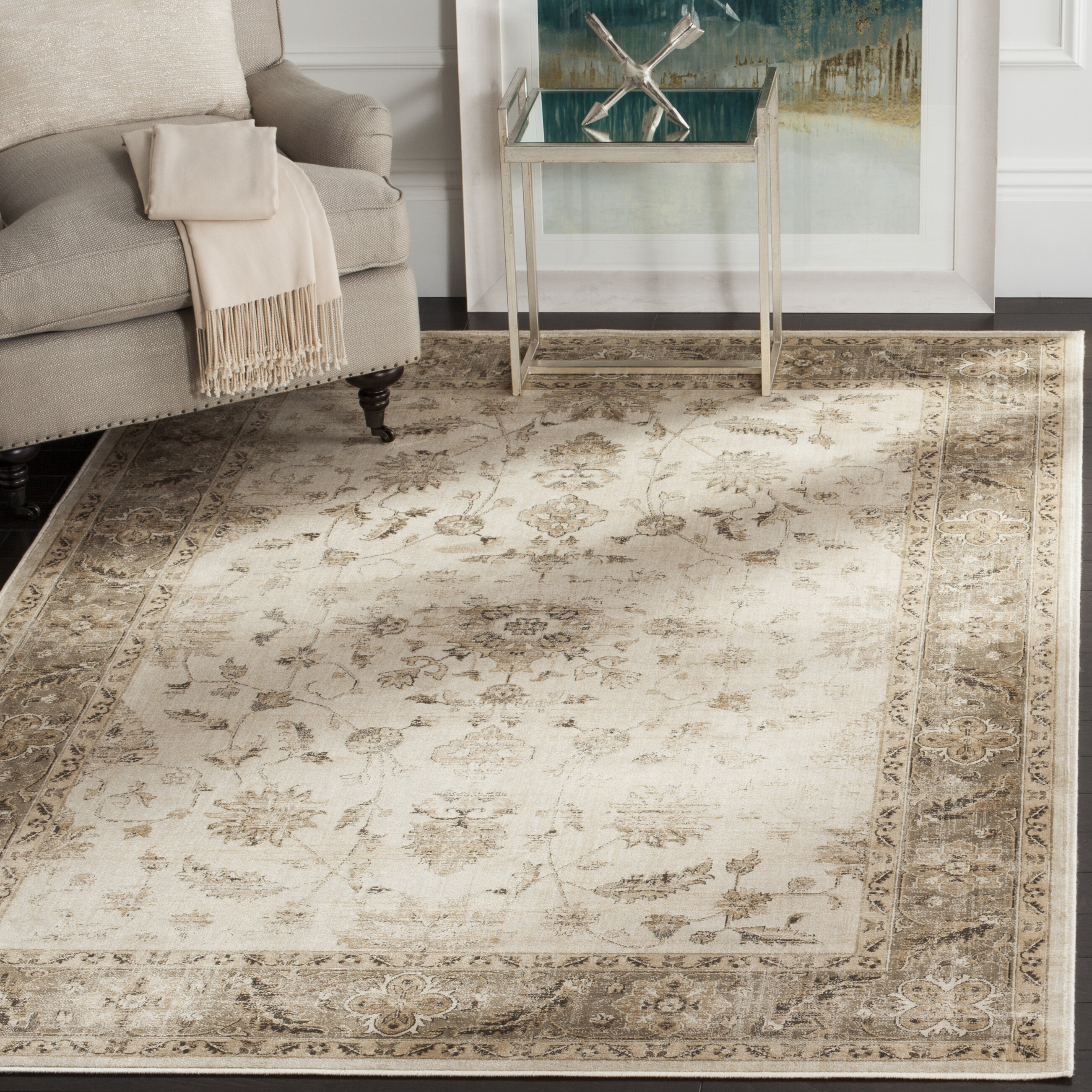 Tuller Stone Mouse Persian Inspired Ivory Area Rug Reviews Joss Main