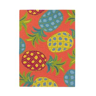 Pineapples Coral Orange/Green Indoor/Outdoor Area Rug