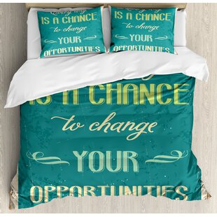East Urban Home Lifestyle Every Day Is a Chance to Change Your Opportunities Quote Retro Poster Print Duvet Set