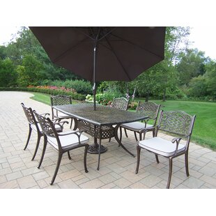 Oakland Living Oxford Mississippi 7 Piece Dining Set with Cushions and Umbrella