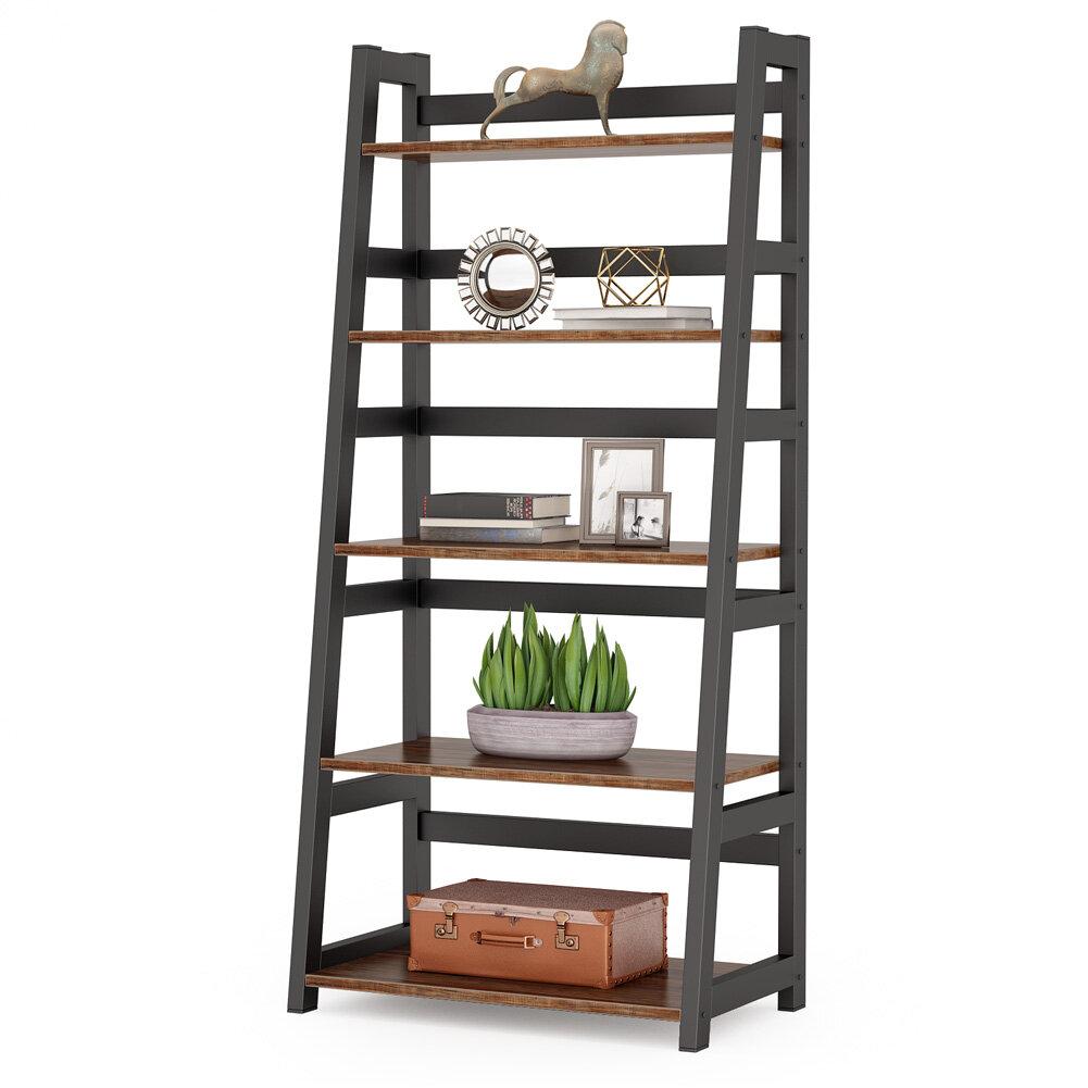 17 Stories Jemison 56 49 H X 23 62 W Metal Ladder Bookcase Wayfair