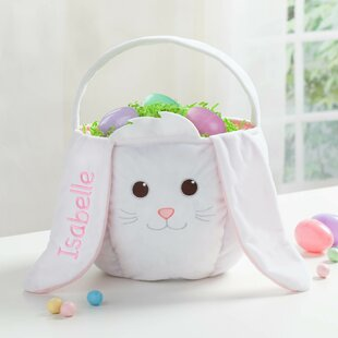 Affordable Personalized Bunny Easter Fabric Basket By Harriet Bee