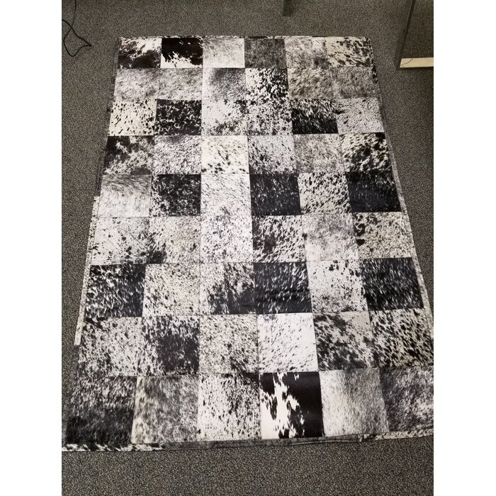 Bellbrook Patchwork Hand Woven Cowhide Black White Area Rug