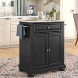 Hedon Kitchen Cart with Granite Top by Three Posts