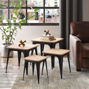 Sallisaw Wood and Metal Display 4 Piece Nesting Tables