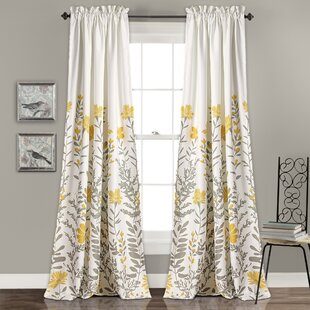 Hilliard Nature/Floral Room Darkening Thermal Rod Pocket Curtain Panels (Set of 2) by Three Posts