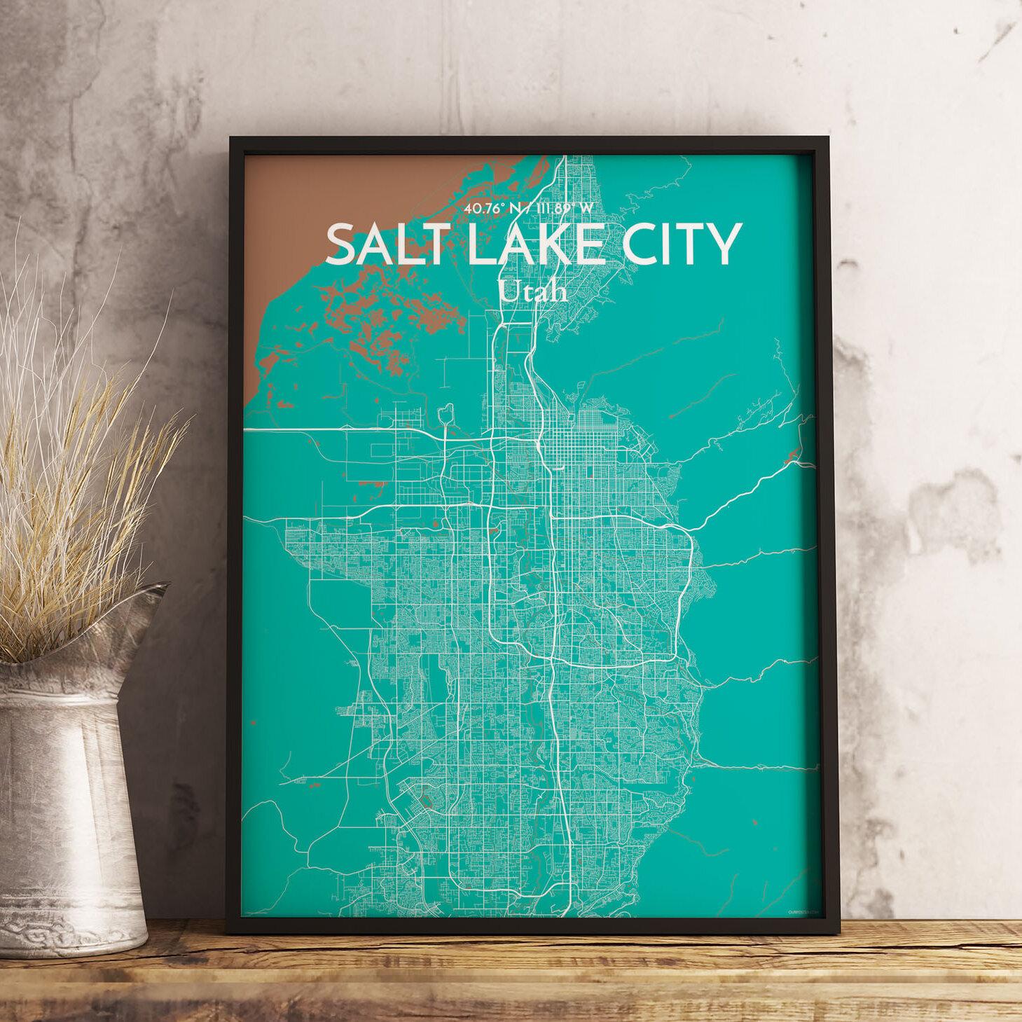 Wrought Studio Salt Lake City City Map Graphic Art Print