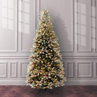 Fir Pre Lit 7 5 Slim Artificial Christmas Tree With 600 Snow Lights Stand