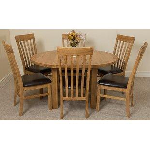Soejima Solid Oak Dining Set With 6 Harvard Chairs By Rosalind Wheeler
