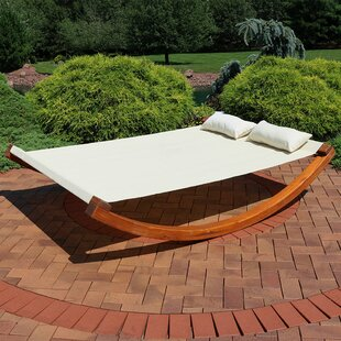 Freeport Park Barthelemy Outdoor Wooden Rocking Double Chaise Lounge with Cushion