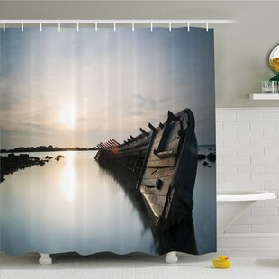 Ocean Sinking Rustic Boat Crash in the Lake Landscape with Horizon on Back Shower Curtain Set