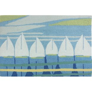 Best Orlando Nautical Anchor Turquoise/White Area Rug By Breakwater Bay
