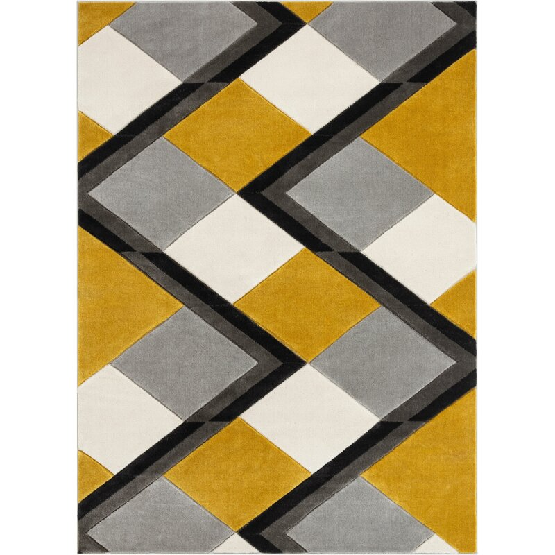 Well Woven Good Vibes Nora Modern Geometric Stripes And Boxes Gold