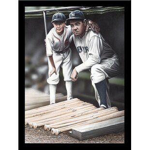 'Babe Ruth and the Bat Boy' Print Poster by Darryl Vlasak Framed Memorabilia by Buy Art For Less