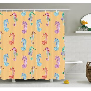 Animal Pop Art Peach Effect Display of Hippocampus in Vivid Ocean Depth Image Shower Curtain Set