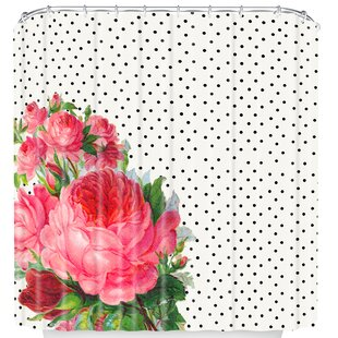 Floral Polka Dot Single Shower Curtain