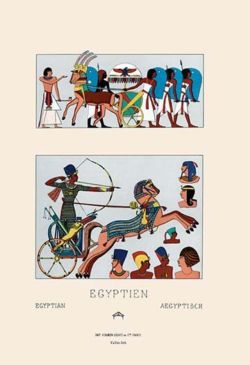 Buyenlarge Egyptian Military Hairstyles And Costumes By Auguste Racinet Painting Print Wayfair