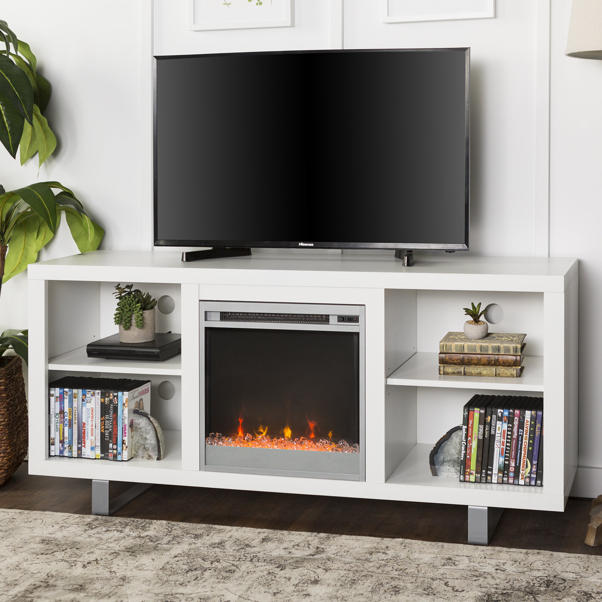Depasquale Tv Stand For Tvs Up To 65 Inches With Electric Fireplace Included