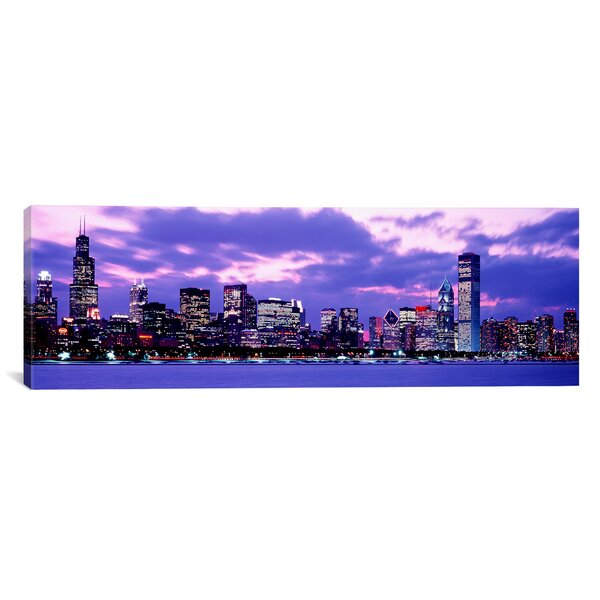 Ebern Designs Panoramic Sunset Chicago Il Usa Wrapped Canvas Photographic Print Wayfair