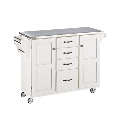 Adelle-a-Cart Kitchen Island with Stainless Steel Top Base Color: White by August Grove