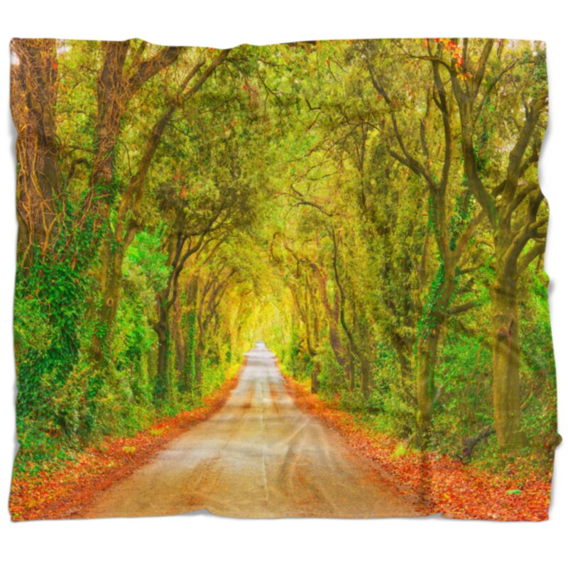East Urban Home Forest Fall Greenery And Road Straight Ahead Blanket Wayfair