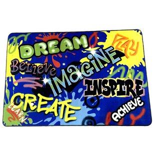 Savings Beaty Inspiration Graffiti Blue Area Rug ByZoomie Kids