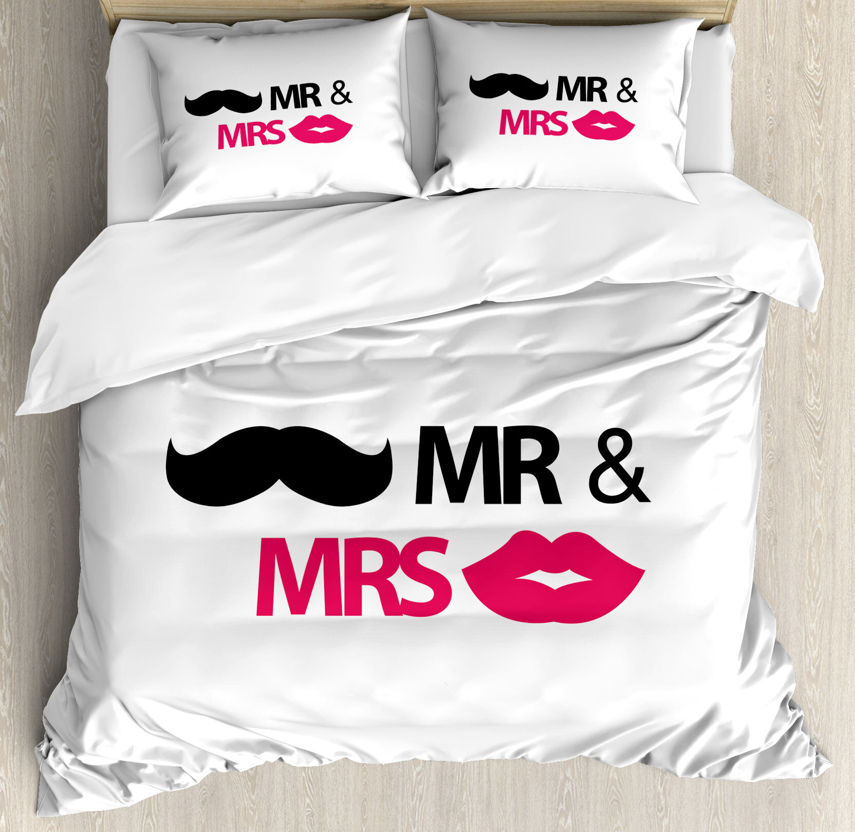 Ambesonne Wedding Decorations Funny Stencil Art Lips Moustache Mr And Mrs Retro Stylized Design Duvet Cover Set Wayfair