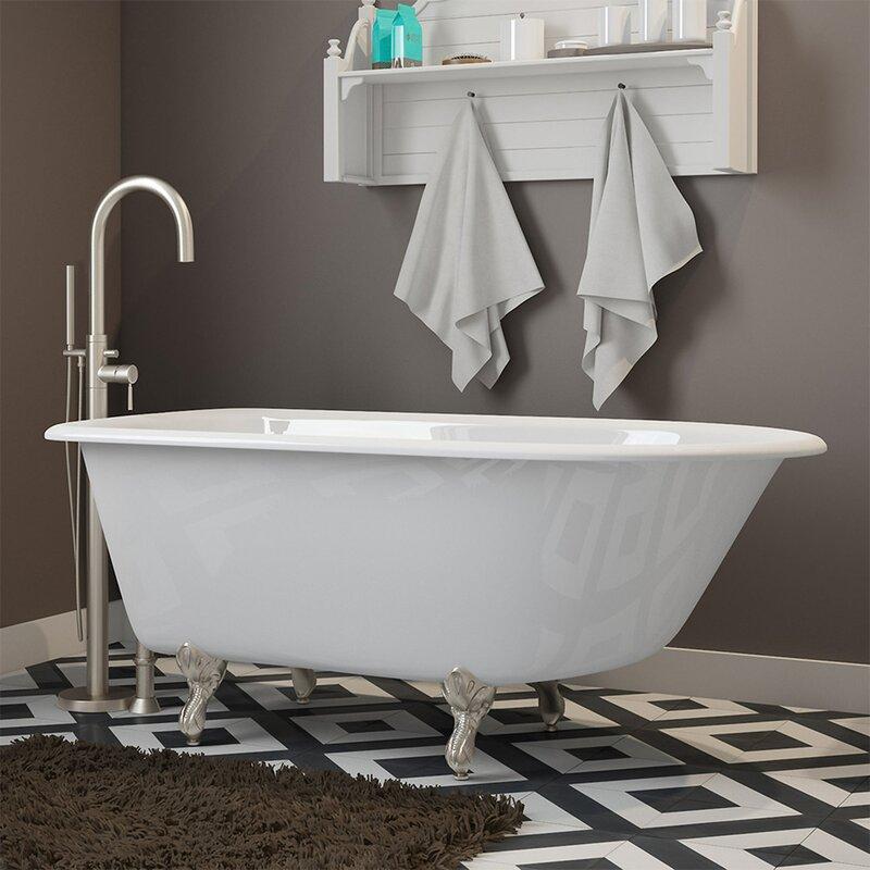 """cambridge plumbing 55"""" x 30"""" clawfoot bathtub in , wall mount"""