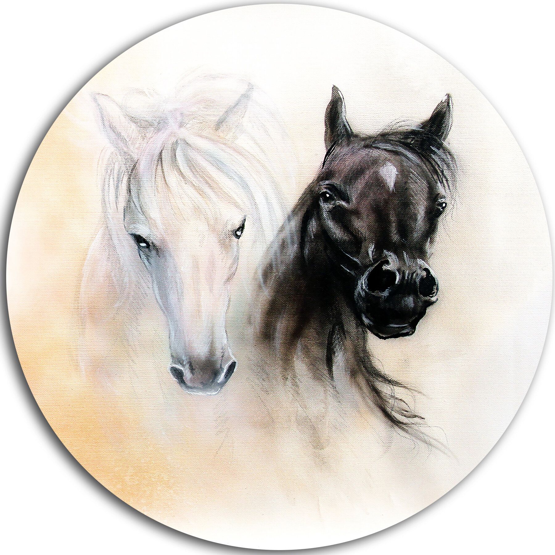 Designart Black And White Horse Heads Painting Print On Metal
