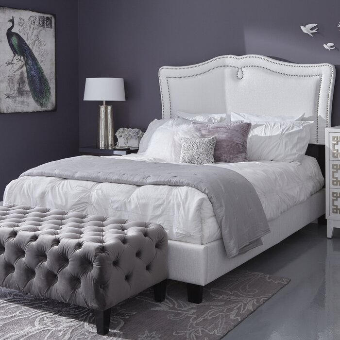 507ee05b5d73 House of Hampton Fabian Queen Sweetheart Shaped Upholstered Panel Bed    Reviews