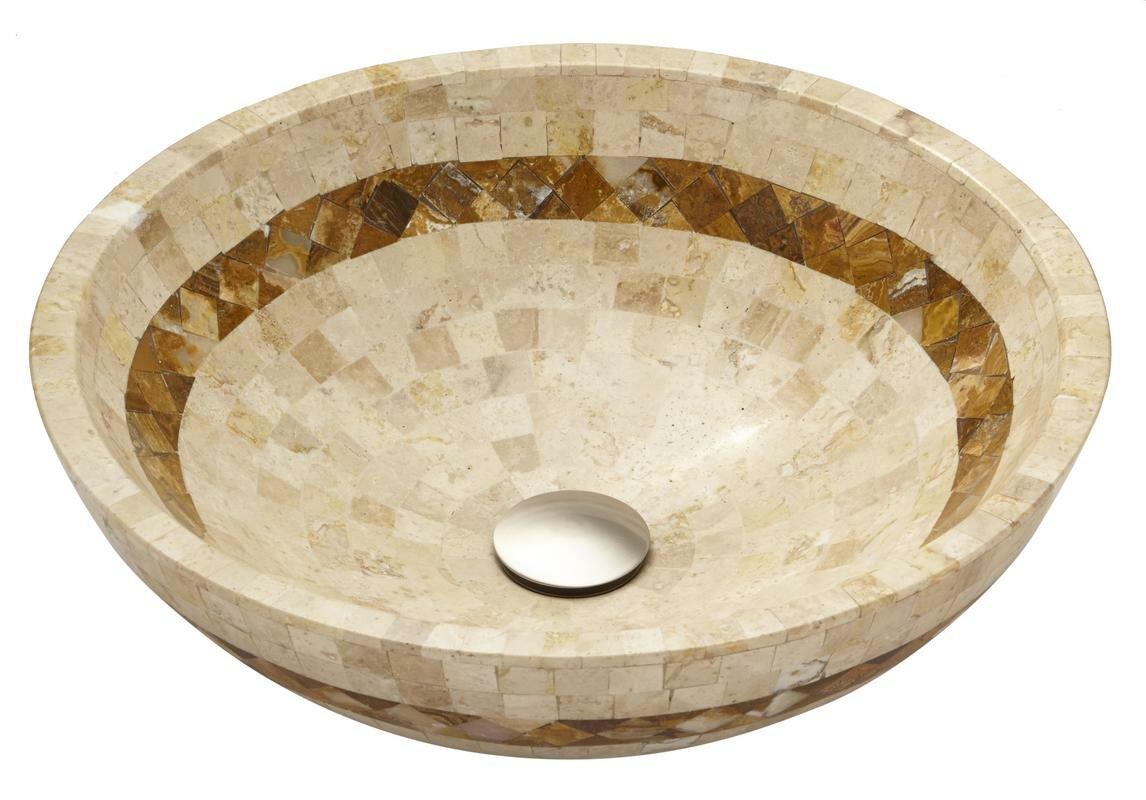 Mosaic Above Counter Bowl Stone Circular Vessel Bathroom Sink
