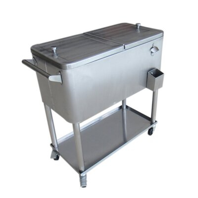 80 Qt. Stainless Steel Patio Rolling Cooler