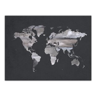 Time zones world map wayfair gray world map watercolor painting print on canvas gumiabroncs Image collections