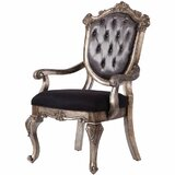 Seibel Tufted Upholstered King Louis Back Arm Chair in Antique Platinum (Set of 2) by Astoria Grand