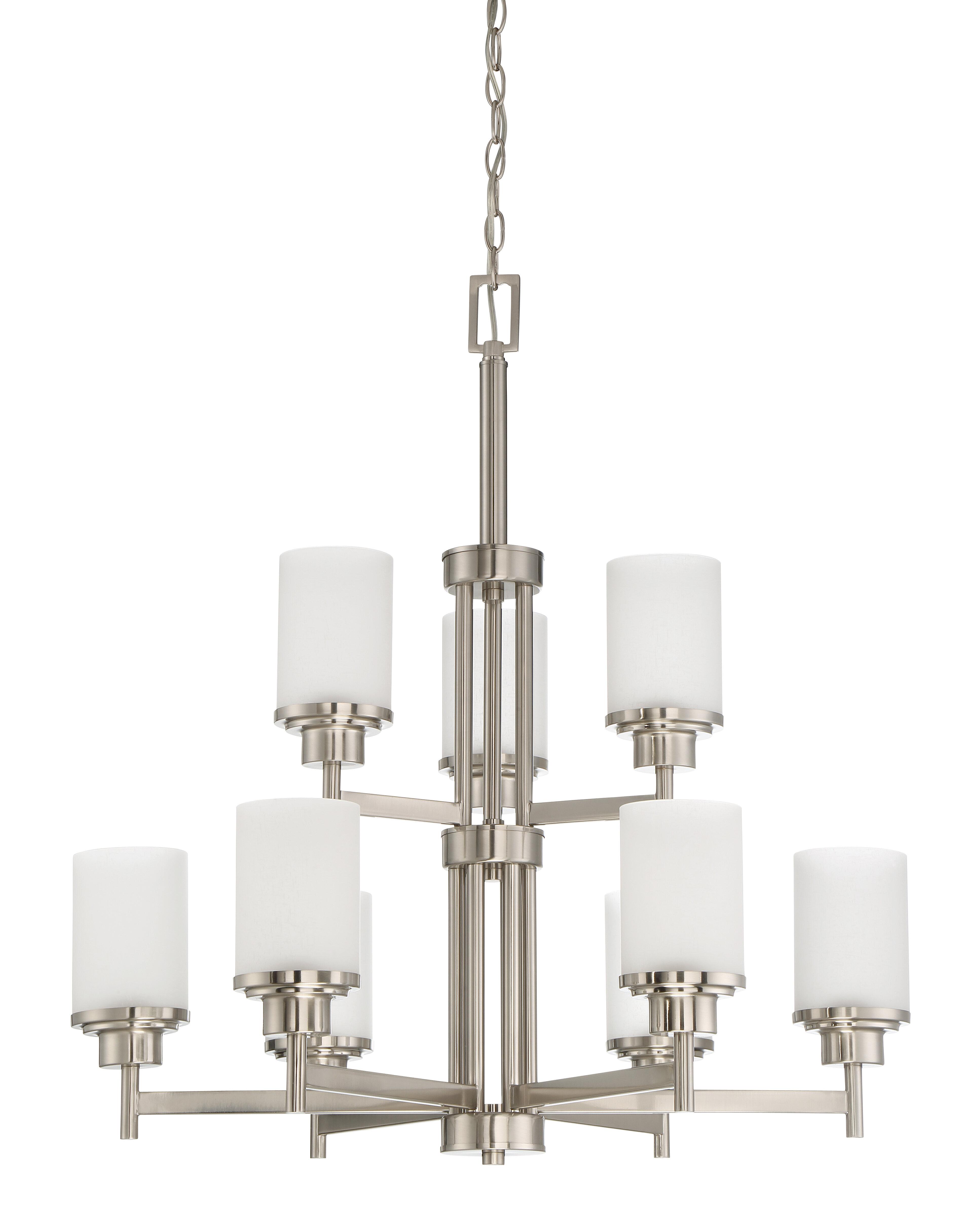 Ebern Designs Bristol 9 Light Shaded Tiered Chandelier Reviews Wayfair