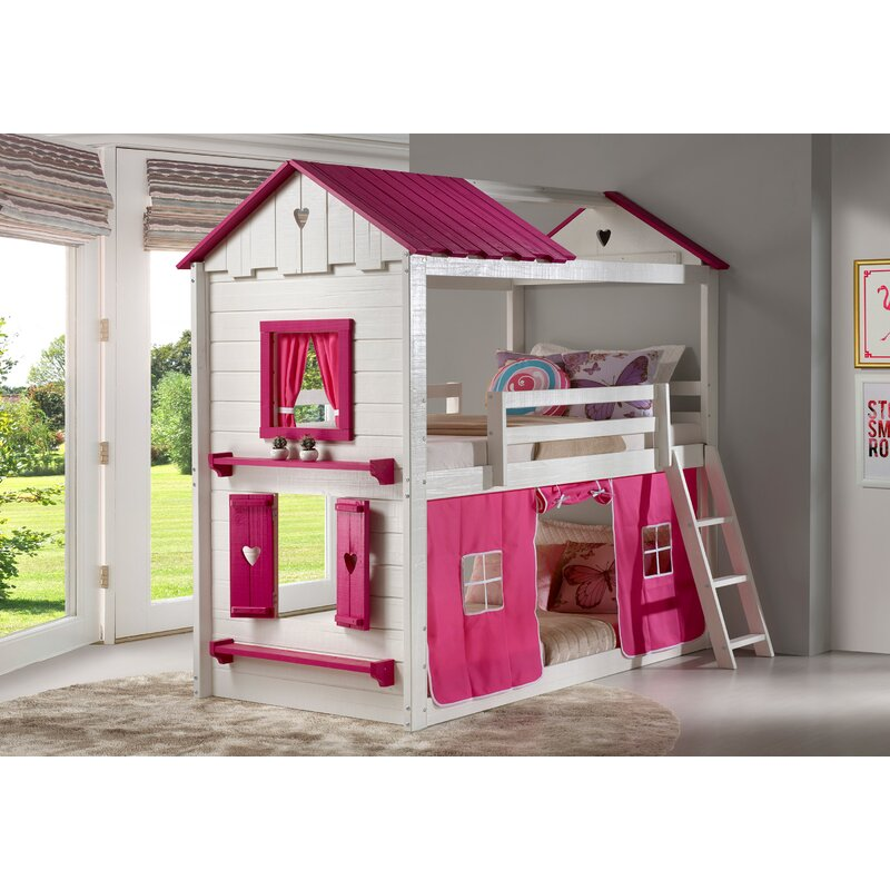Zoomie Kids Schoonmaker Twin Over Twin Bunk Bed & Reviews | Wayfair