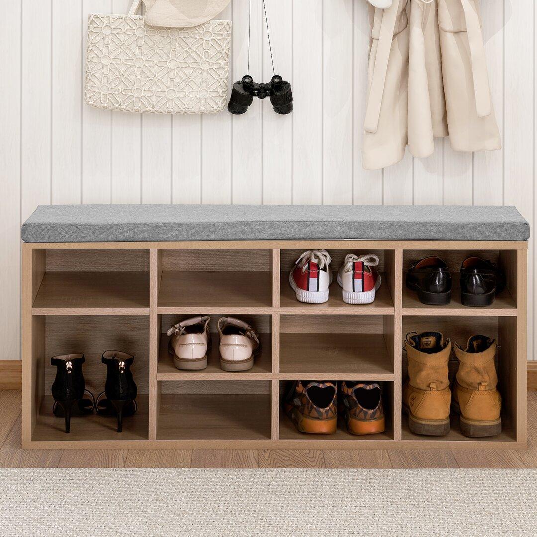 Wooden 10 Pair Shoe Storage Bench