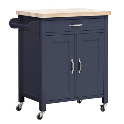 August Grove Philomene Kitchen Cart Base Finish: Navy