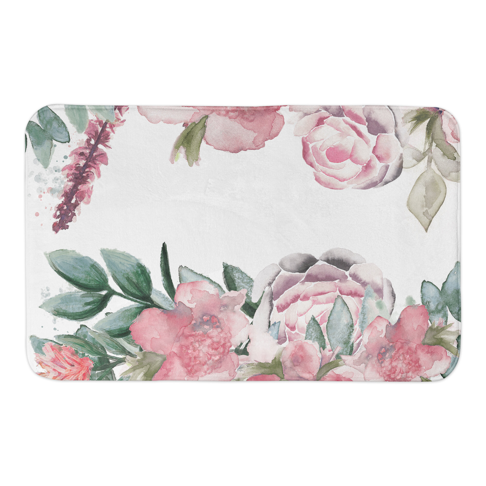 Bungalow Rose Florencio Botanicals Rectangle Non Slip Floral Bath Rug Wayfair